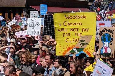 Protestors blocked from Chevron, Woodside during Perth climate strike