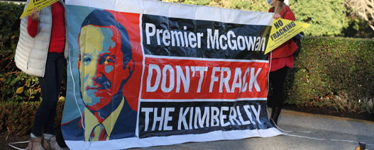 Anti-Frac protestors flood McGowan's headquarters