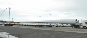 Giant wind turbine blades transported
